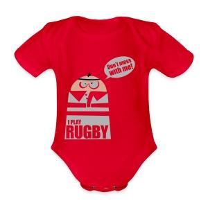 Männer T-Shirt Motiv: I play Rugby - Baby Bio-Kurzarm-Body