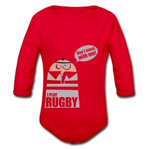 Männer T-Shirt Motiv: I play Rugby - Baby Bio-Langarm-Body
