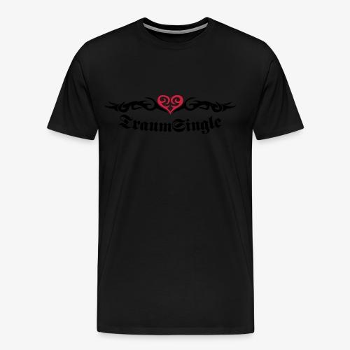 TRAUM-SINGLE 2c Tattoo Look + Herz Heart Männer Shirt schwarz + alle Farben - Männer Premium T-Shirt