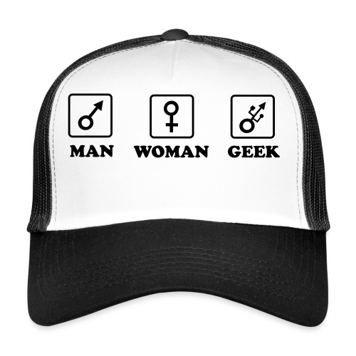 Man Woman Geek T-shirt - Trucker Cap