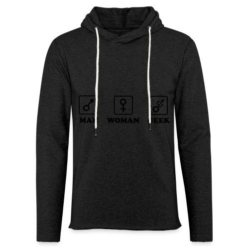 Man Woman Geek T-shirt - Sweat-shirt à capuche léger unisexe