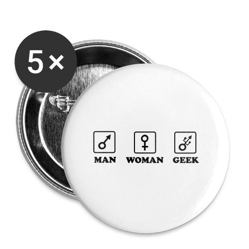 Man Woman Geek T-shirt - Lot de 5 grands badges (56 mm)
