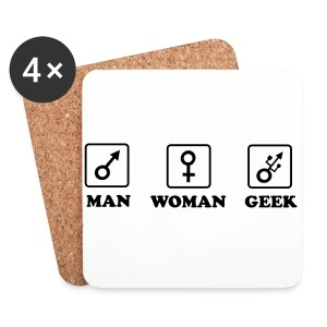 Man Woman Geek T-shirt - Dessous de verre (lot de 4)