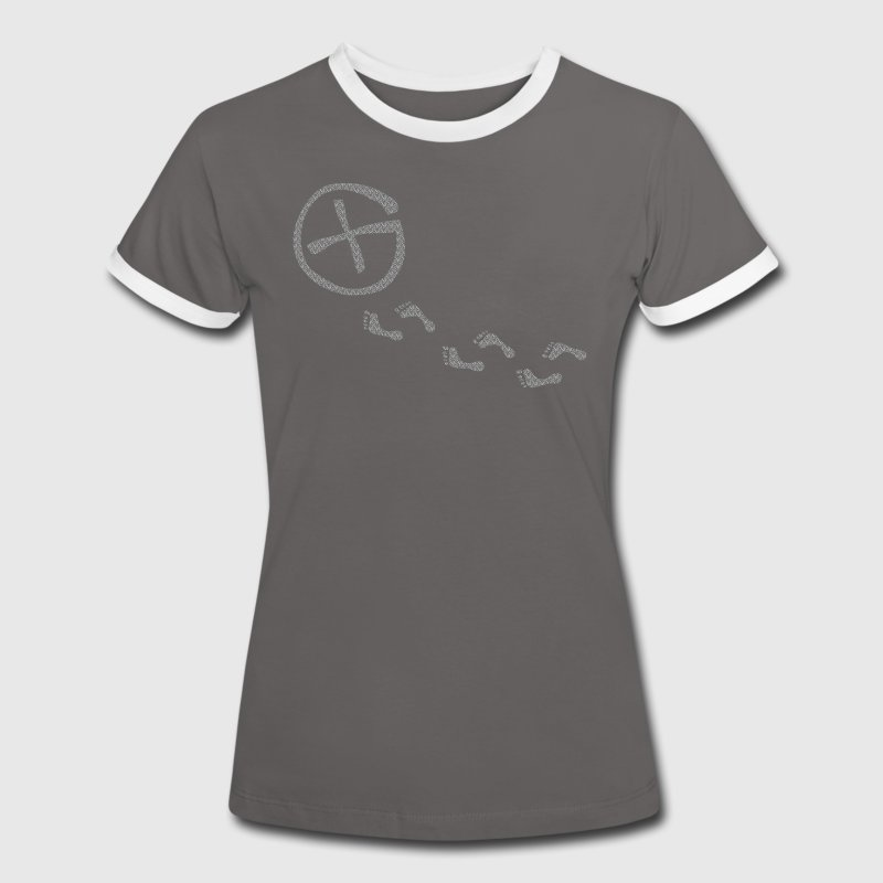 Footprints - glow in the dark - Frauen Kontrast-T-Shirt