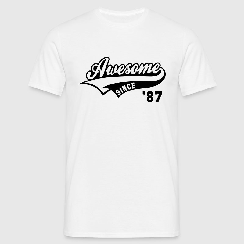 Awesome SINCE 1987 - Birthday Anniversaire T-Shirt BW - Men's T-Shirt