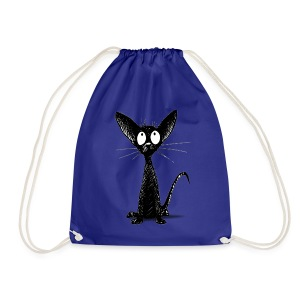 Funny Little Cute Black Cat - Drawstring Bag