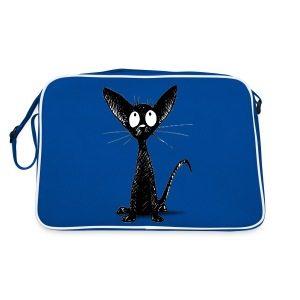Funny Little Cute Black Cat - Retro Bag