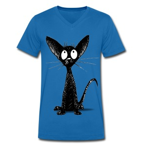 Funny Little Cute Black Cat - Men's V-Neck T-Shirt