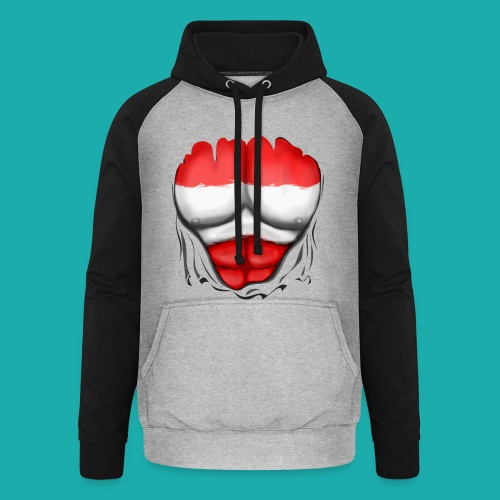 Austria Flag Ripped Muscles, six pack, chest t-shirt - Unisex Baseball Hoodie