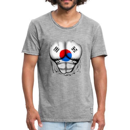 South Korea Flag Ripped Muscles, six pack, chest t-shirt - Men's Vintage T-Shirt
