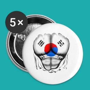 South Korea Flag Ripped Muscles, six pack, chest t-shirt - Buttons small 25 mm