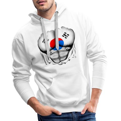 South Korea Flag Ripped Muscles, six pack, chest t-shirt - Men's Premium Hoodie