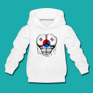 South Korea Flag Ripped Muscles, six pack, chest t-shirt - Kids' Premium Hoodie