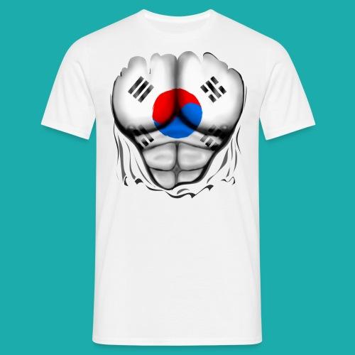 South Korea Flag Ripped Muscles, six pack, chest t-shirt - Men's T-Shirt