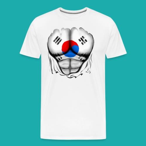 South Korea Flag Ripped Muscles, six pack, chest t-shirt - Men's Premium T-Shirt