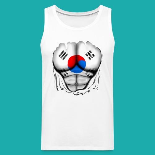 South Korea Flag Ripped Muscles, six pack, chest t-shirt - Men's Premium Tank Top