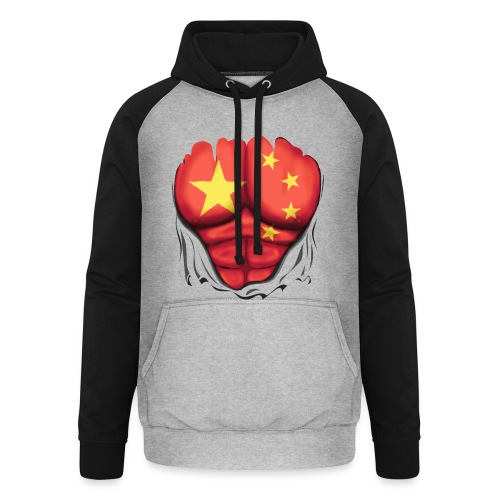 China Flag Ripped Muscles, six pack, chest t-shirt - Unisex Baseball Hoodie