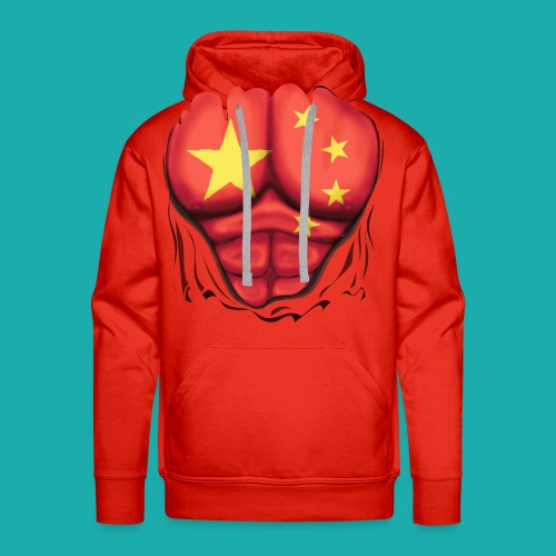 China Flag Ripped Muscles, six pack, chest t-shirt - Men's Premium Hoodie