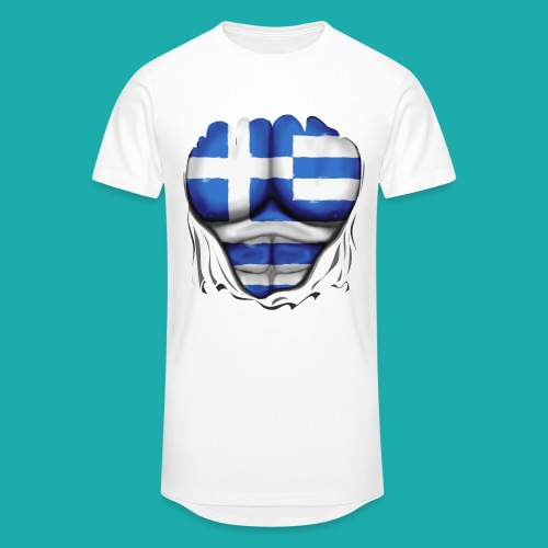 Greece Flag Ripped Muscles six pack chest t-shirt - Men's Long Body Urban Tee