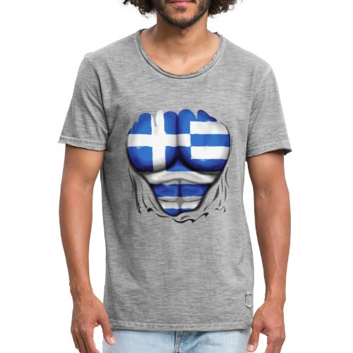 Greece Flag Ripped Muscles six pack chest t-shirt - Men's Vintage T-Shirt