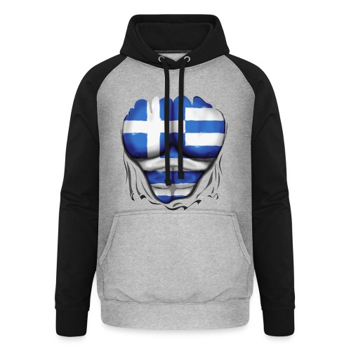 Greece Flag Ripped Muscles six pack chest t-shirt - Unisex Baseball Hoodie