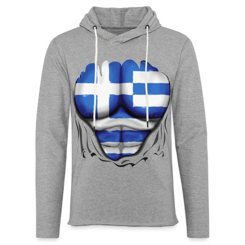 Greece Flag Ripped Muscles six pack chest t-shirt - Light Unisex Sweatshirt Hoodie