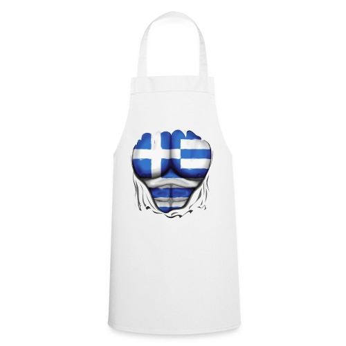 Greece Flag Ripped Muscles six pack chest t-shirt - Cooking Apron