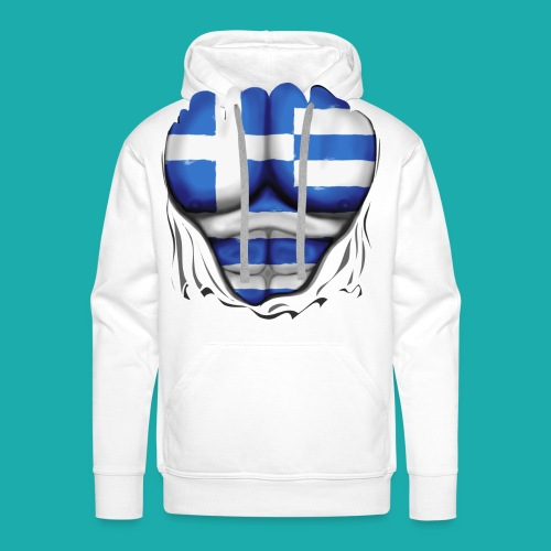Greece Flag Ripped Muscles six pack chest t-shirt - Men's Premium Hoodie
