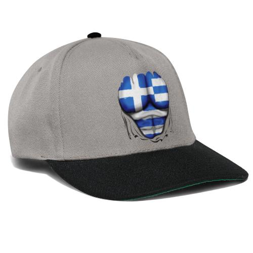 Greece Flag Ripped Muscles six pack chest t-shirt - Snapback Cap