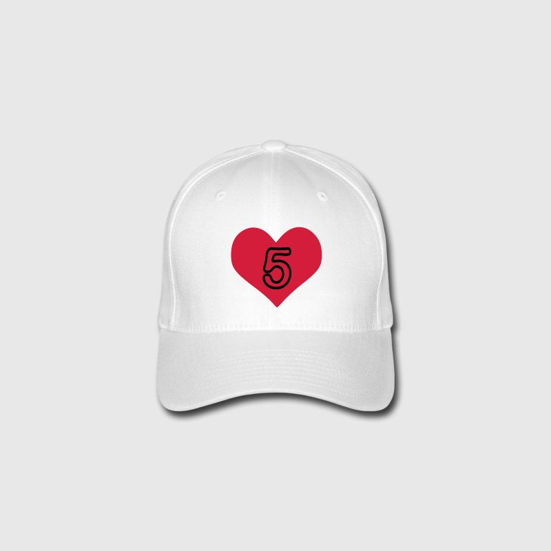 Number 5 heart Flexfit Baseball Cap - Flexfit Baseball Cap