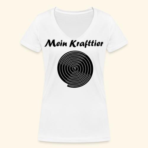 Krafttier, Kontrast - Frauen Bio-T-Shirt mit V-Ausschnitt von Stanley & Stella