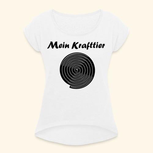 Krafttier, Kontrast - Frauen T-Shirt mit gerollten Ärmeln