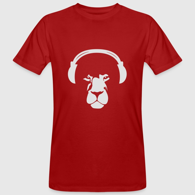 Lion with Earphones - Männer Bio-T-Shirt