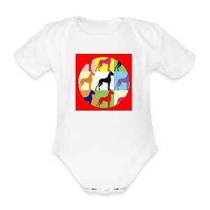 Neuer Button - Doggensilhouette pop art - Baby Bio-Kurzarm-Body