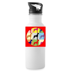 Neuer Button - Doggensilhouette pop art - Trinkflasche