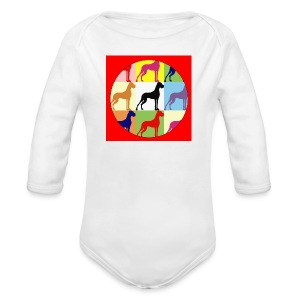 Neuer Button - Doggensilhouette pop art - Baby Bio-Langarm-Body