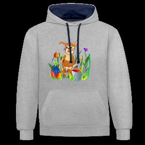 Shirt  Hase auf der Wiese - Kontrast-Hoodie