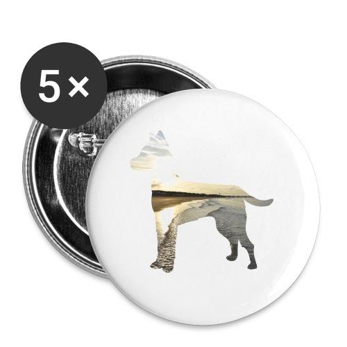 Hund-Nordsee - Buttons groß 56 mm (5er Pack)