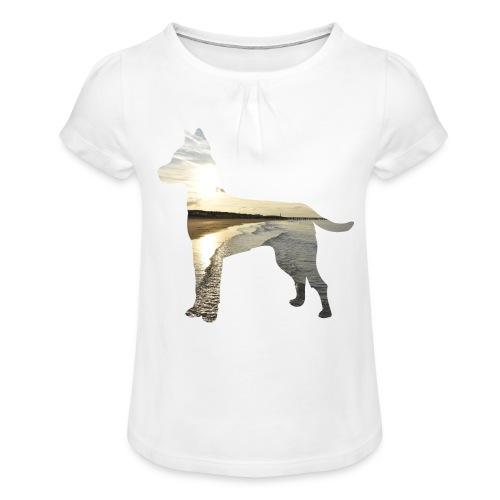 Hund-Nordsee - Mädchen-T-Shirt mit Raffungen