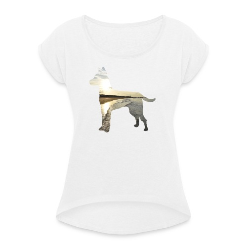 Hund-Nordsee - Frauen T-Shirt mit gerollten Ärmeln