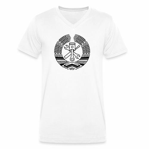 DDR Werkstatt Tuning Wappen (+ Dein Text) - Men's Organic V-Neck T-Shirt by Stanley & Stella