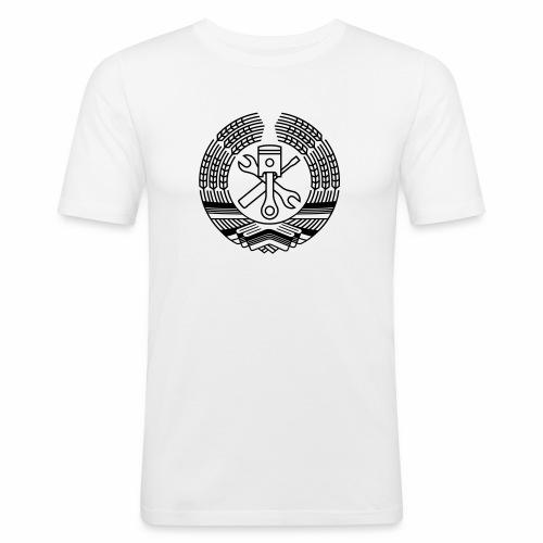 DDR Werkstatt Tuning Wappen (+ Dein Text) - Men's Slim Fit T-Shirt