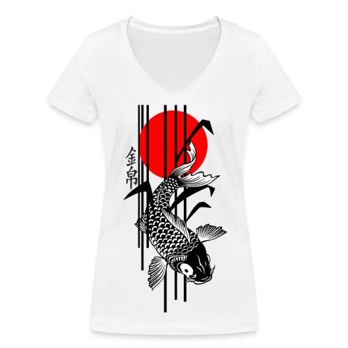 Bamboo Design - Nishikigoi - Koi Fish 3 - Frauen Bio-T-Shirt mit V-Ausschnitt von Stanley & Stella