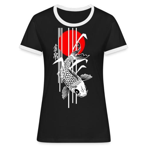 Bamboo Design - Nishikigoi - Koi Fish 4 - Frauen Kontrast-T-Shirt