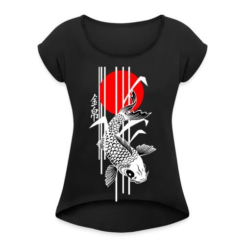 Bamboo Design - Nishikigoi - Koi Fish 4 - Frauen T-Shirt mit gerollten Ärmeln