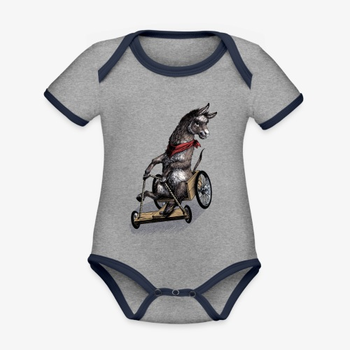 Donkey  and Cart - Organic Baby Contrasting Bodysuit
