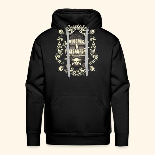 Lustiges Vintage Style Shirt Bartgerecht & freisaufend - Männer Premium Hoodie