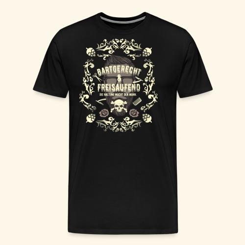 Lustiges Vintage Style Shirt Bartgerecht & freisaufend - Männer Premium T-Shirt