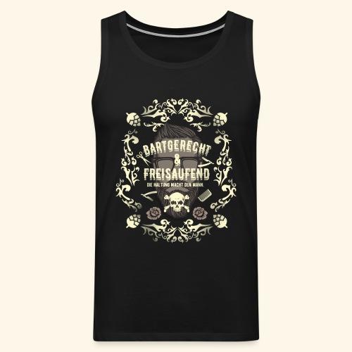 Lustiges Vintage Style Shirt Bartgerecht & freisaufend - Männer Premium Tank Top