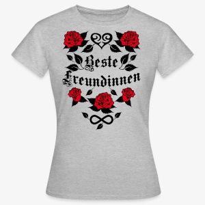 Beste Freundinnen Tattoo Herz rote Rosen T-Shirt 41 - Frauen T-Shirt